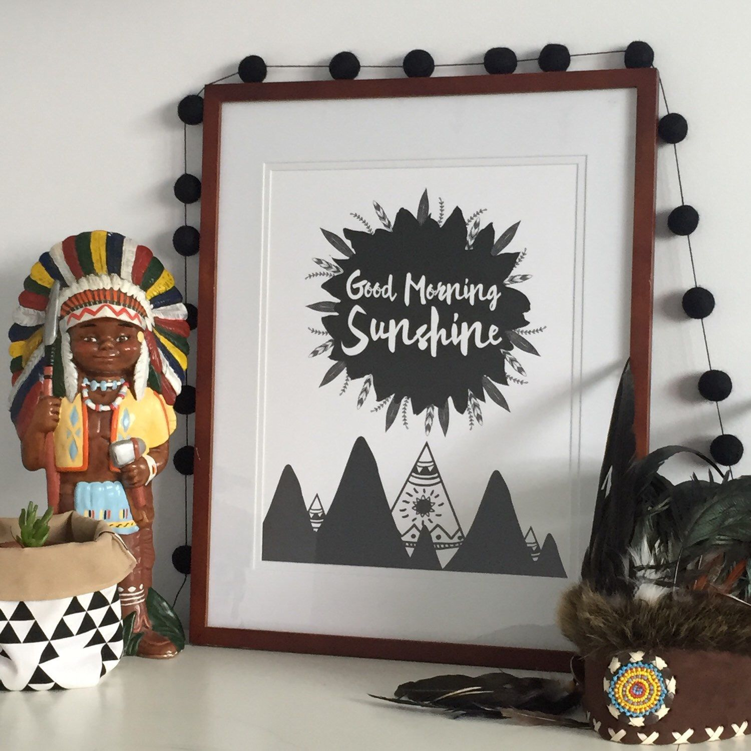 Monochrome Boys Bedroom Prints Tribal Boys Nursery Art Printed Wall