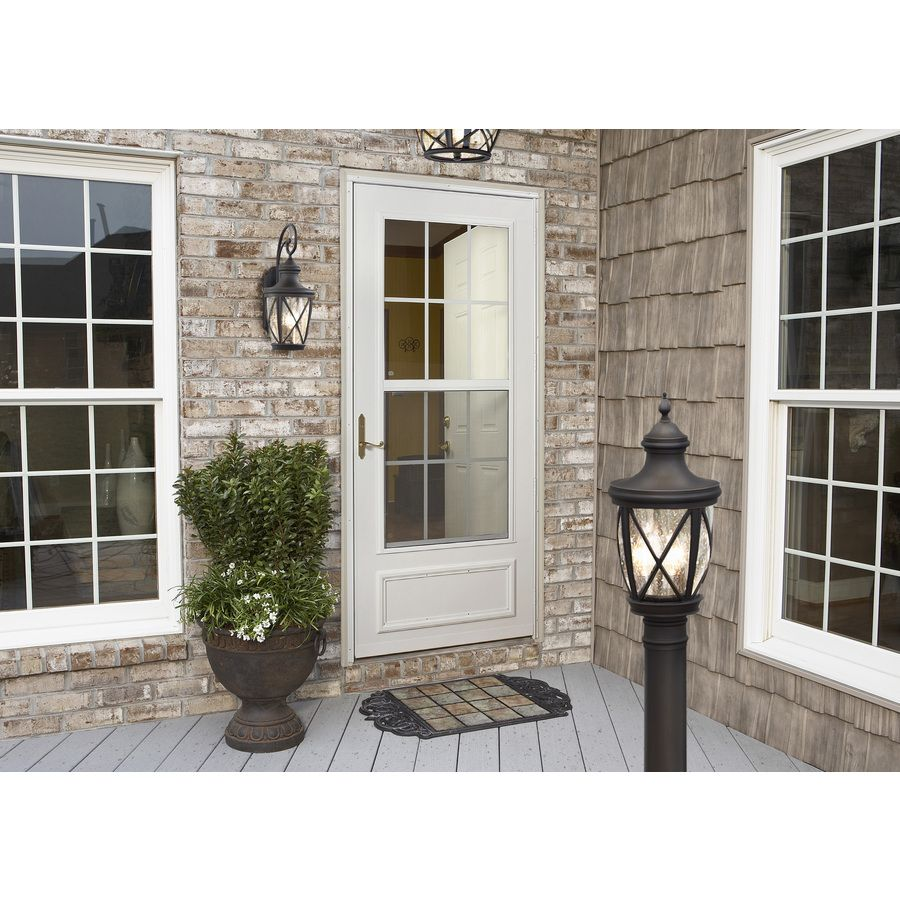 Allen Roth Castine 23 75 In H Rubbed Bronze Outdoor Wall Light At Lowes