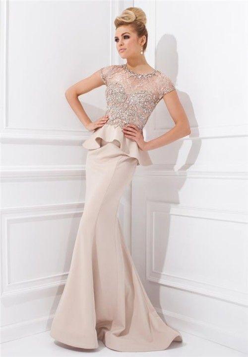 2294853b9 Mermaid Scoop Neck Cap Sleeve Champagne Chiffon Beaded Peplum Long Evening  Dress