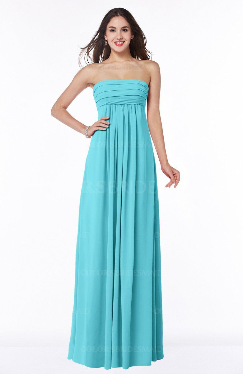 Turquoise Romantic Empire Sleeveless Backless Floor Length Plus Size ...