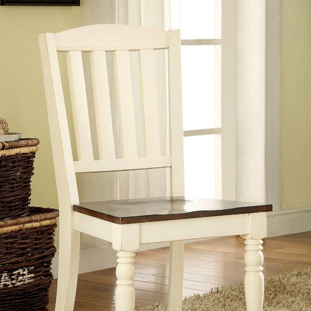 Harrisburg cottage side chair white u dark oak finish set of in