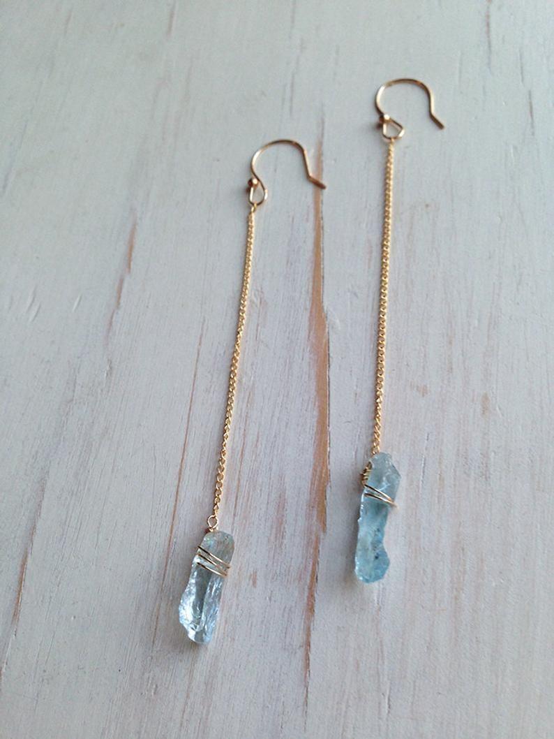 Photo of Raw Aquamarine Earrings Raw Aquamarine Jewelry Raw Gemstone Jewelry
