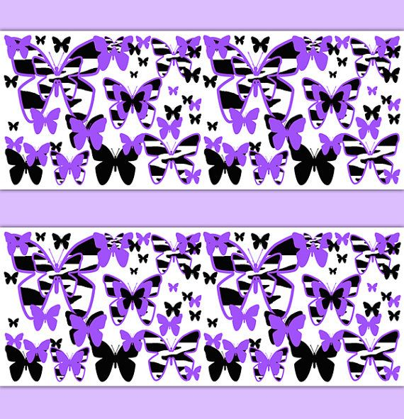 PURPLE ZEBRA PRINT Wallpaper Border Butterfly Decal Girl