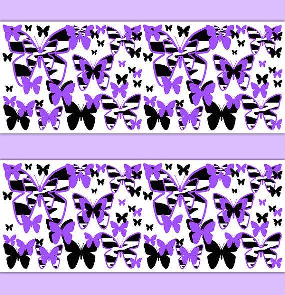 PURPLE ZEBRA PRINT Wallpaper Border Butterfly Decal Girl ...