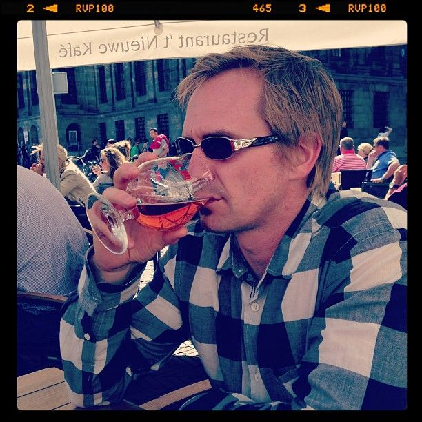 Me enjoying a beer in Dam Square