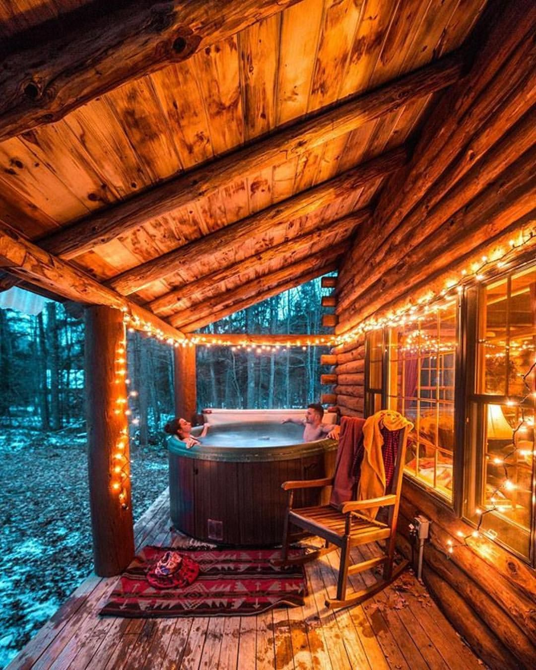 How About A Dip In The Hot Tub Follow Cabinsdaily For More Kylefinndempsey Cabins And Cottages Log Homes Cabin