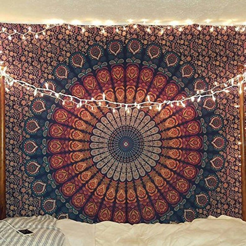 Hippie Mandala Bohemian Psychedelic Intricate Floral Design Etsy Mandala Tapestries Wall Hangings Hippie Bedding Tapestry Bedding
