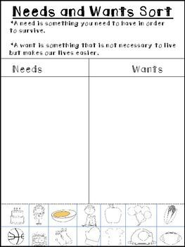 Needs And Wants Sort Freebie With Images Kindergarten Social