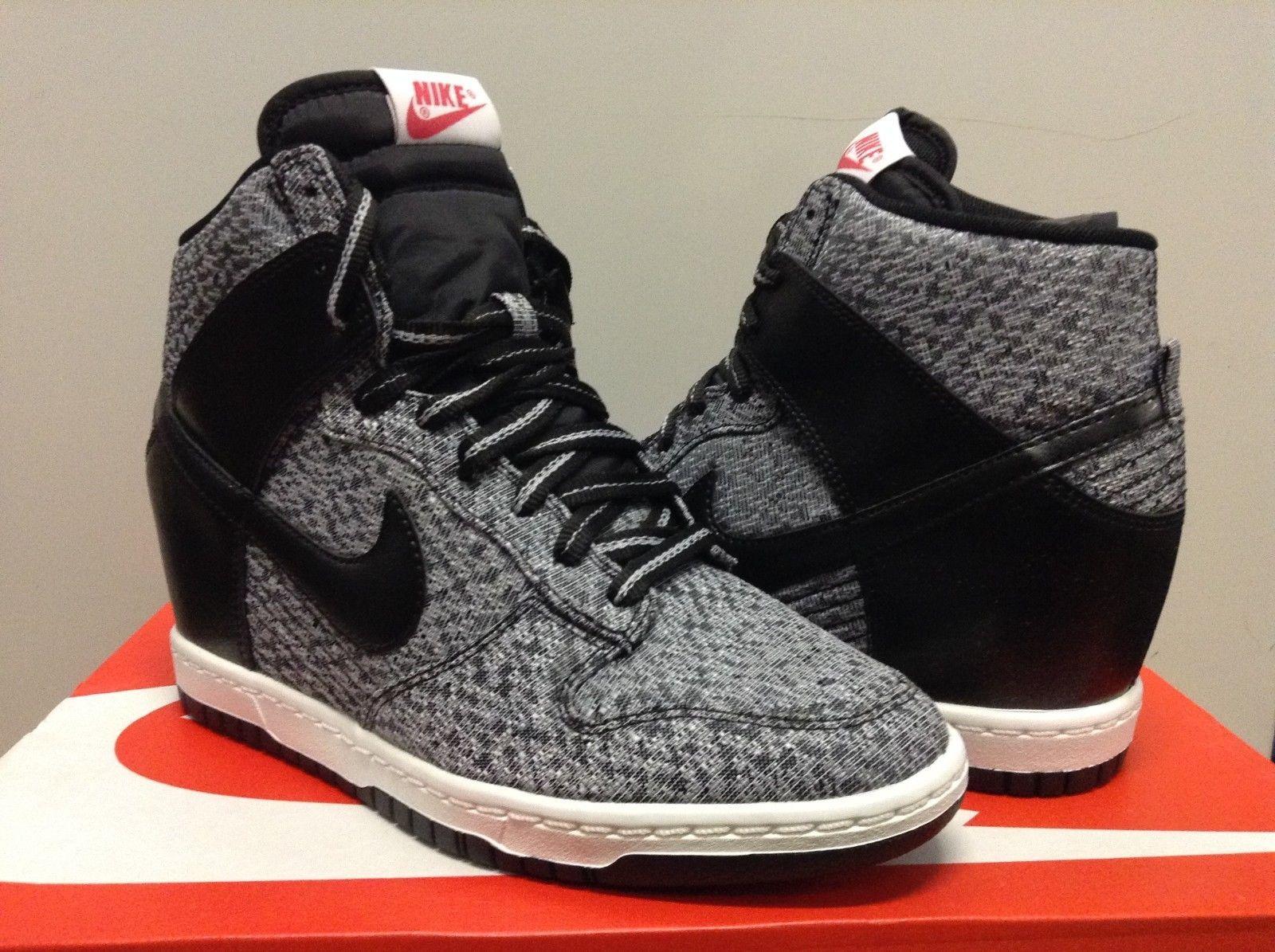 watch 4dab9 25b83 644410 001 New Womens Nike Dunk Sky Hi TXT Wedge Black Black Wolf Grey Red    eBay