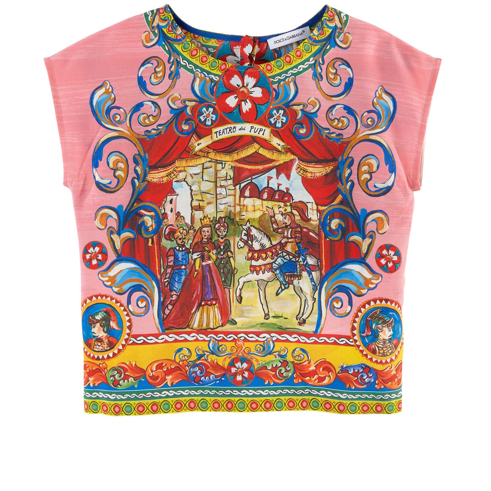 Pure silk Pleasant to wear Mini me item Light item Crew neck Short sleeves Snap buttons in the back Exclusive print - $ 200.00