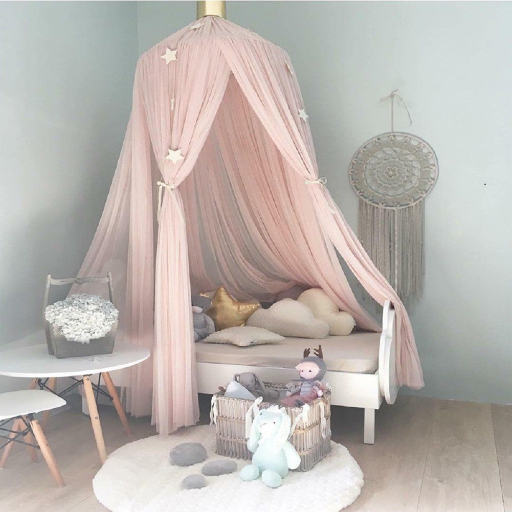 Kid Crib Netting Canopy Bed Curtain Round Dome Hanging Mosquito Net Curtain Play Tent Bedding For Baby Kids Playing Reading Home Mother & Kids