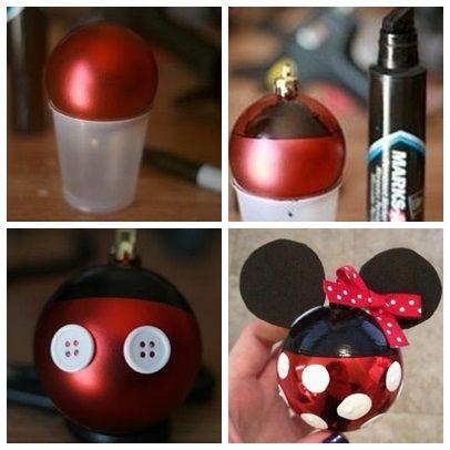 Bolas de minie y mickey artezanato navidad disney for Adornos navidenos mickey mouse