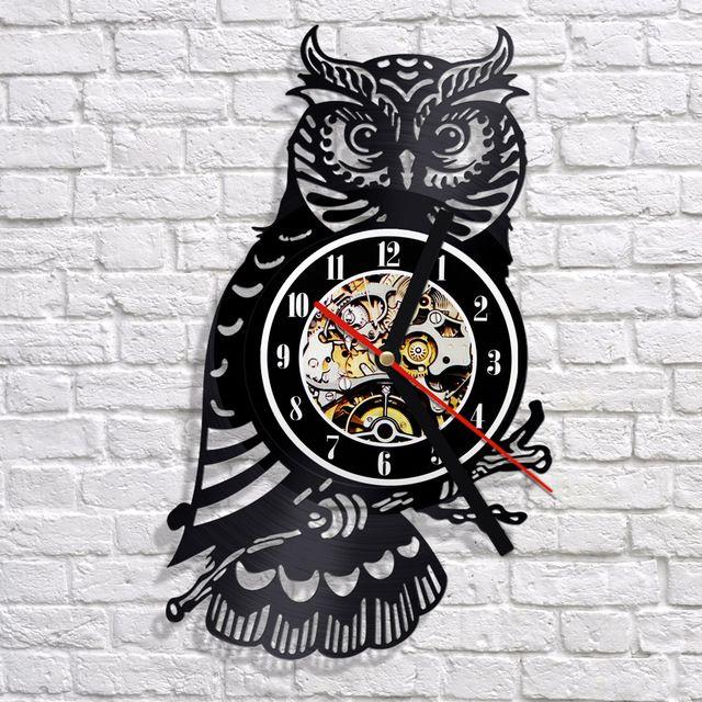 무료 배송 1 조각 밤 올빼미 비닐 벽 시계 3D LP 기록 디지털 시간 시계 창조적 매달려 홈 장식 동물 시계 시계