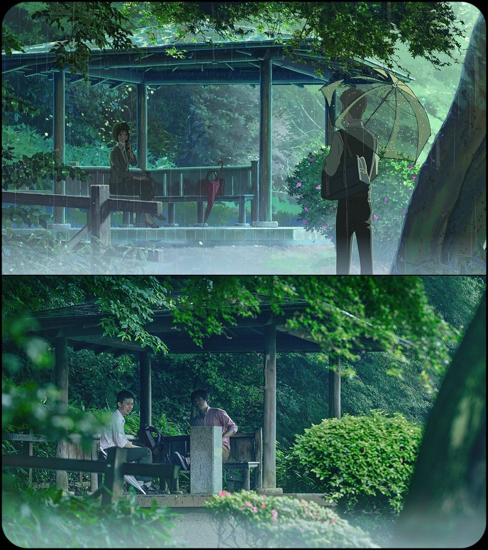 "Background Comparison 2 in Anime ""Kotonoha no Niwa(言の葉の庭"