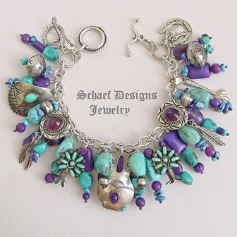 Schaef Designs purple turquoise, amethyst, & sterling silver Charm Bracelet with Navajo charms | New Mexico