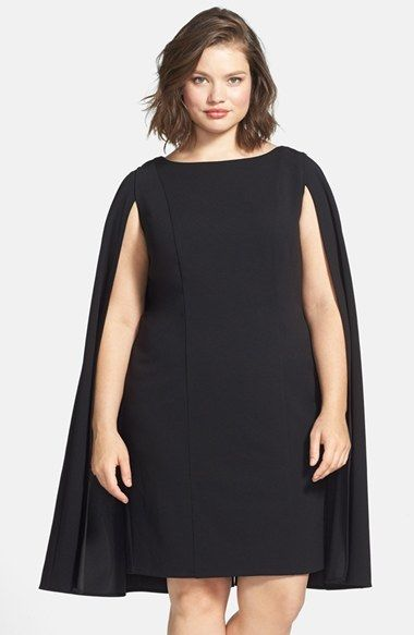 Plus Size Women\'s Adrianna Papell Cape Sheath Dress, Size ...