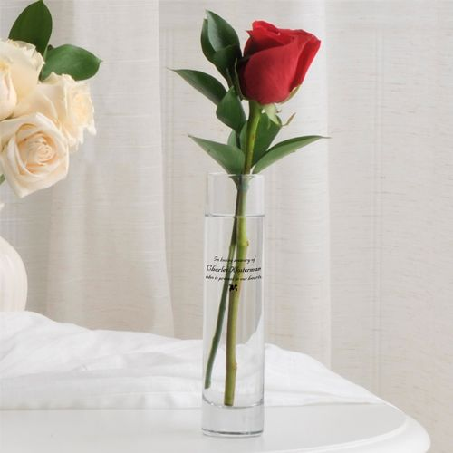 Share a commemorative moment at an memorial ceremony by placing a flower in this memorial bud vase, printed with sentimental words honoring a loved one.