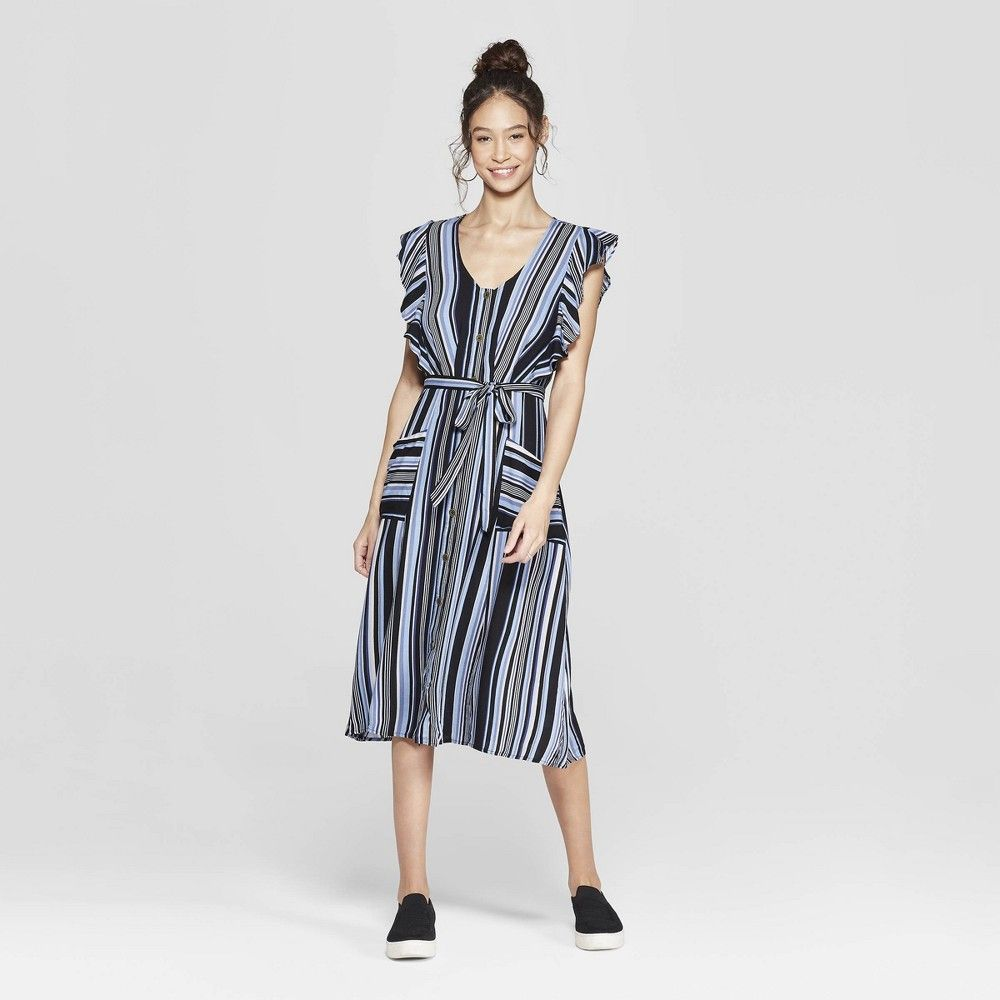 Women S Striped Short Sleeve V Neck Button Front Tie Midi Dress With Pockets Xhilaratio Midi Short Sleeve Dress Short Sleeve Dress Pattern Striped Midi Dress [ 1000 x 1000 Pixel ]