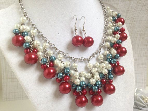America the Beautiful Red White and Blue Necklace by HighStrungBeading