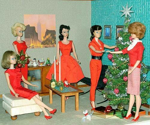 vintage christmas with barbie and friends winter fun. Black Bedroom Furniture Sets. Home Design Ideas