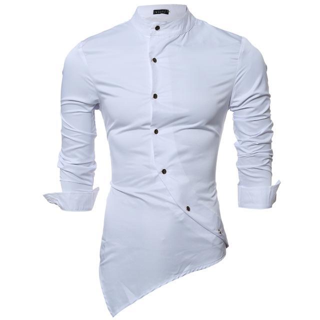 fa67a79823 2017 New Men Shirt Male Dress Shirts Men s Fashion Casual Stand Collar Long  Sleeve Silk Fabric Shirt Camisa Social Masculina