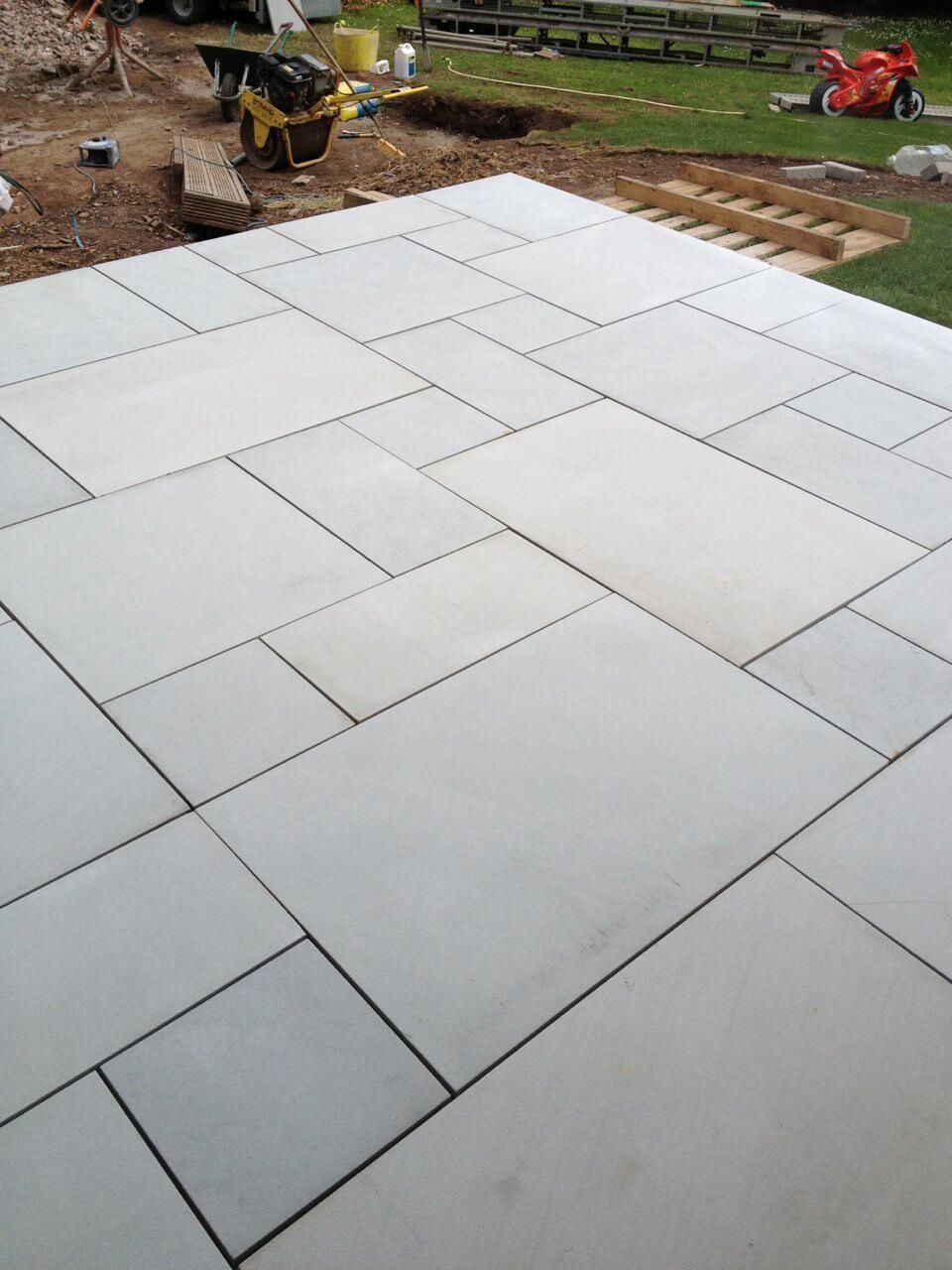 Sawn Kandla Grey Indian Sandstone Garden tiles, Paving
