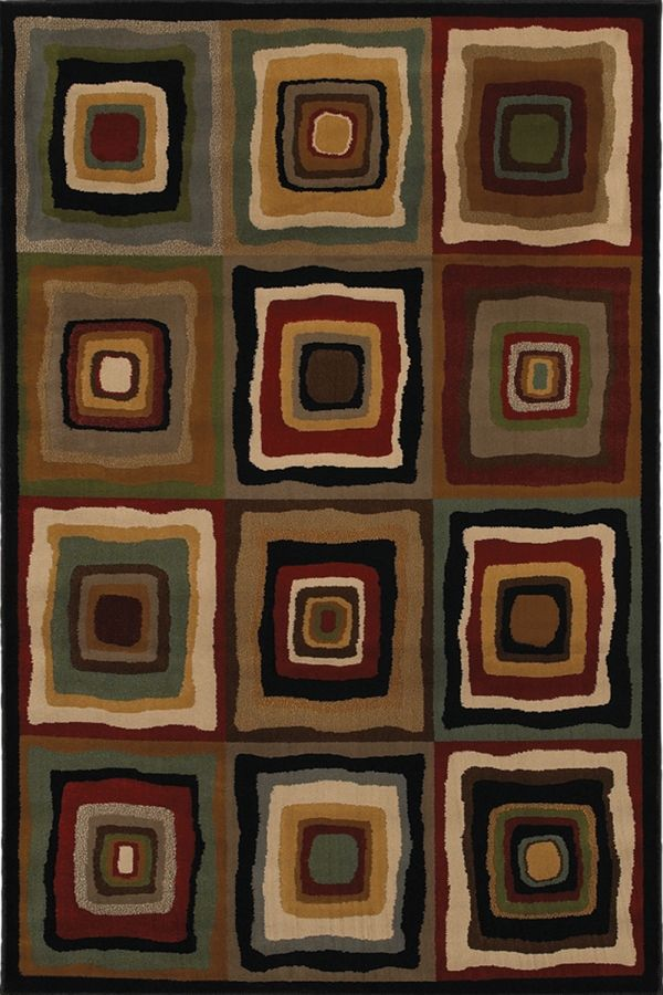 Mohawk Home Cachet Squares Black Burgundy Gold Area Rugs Avec