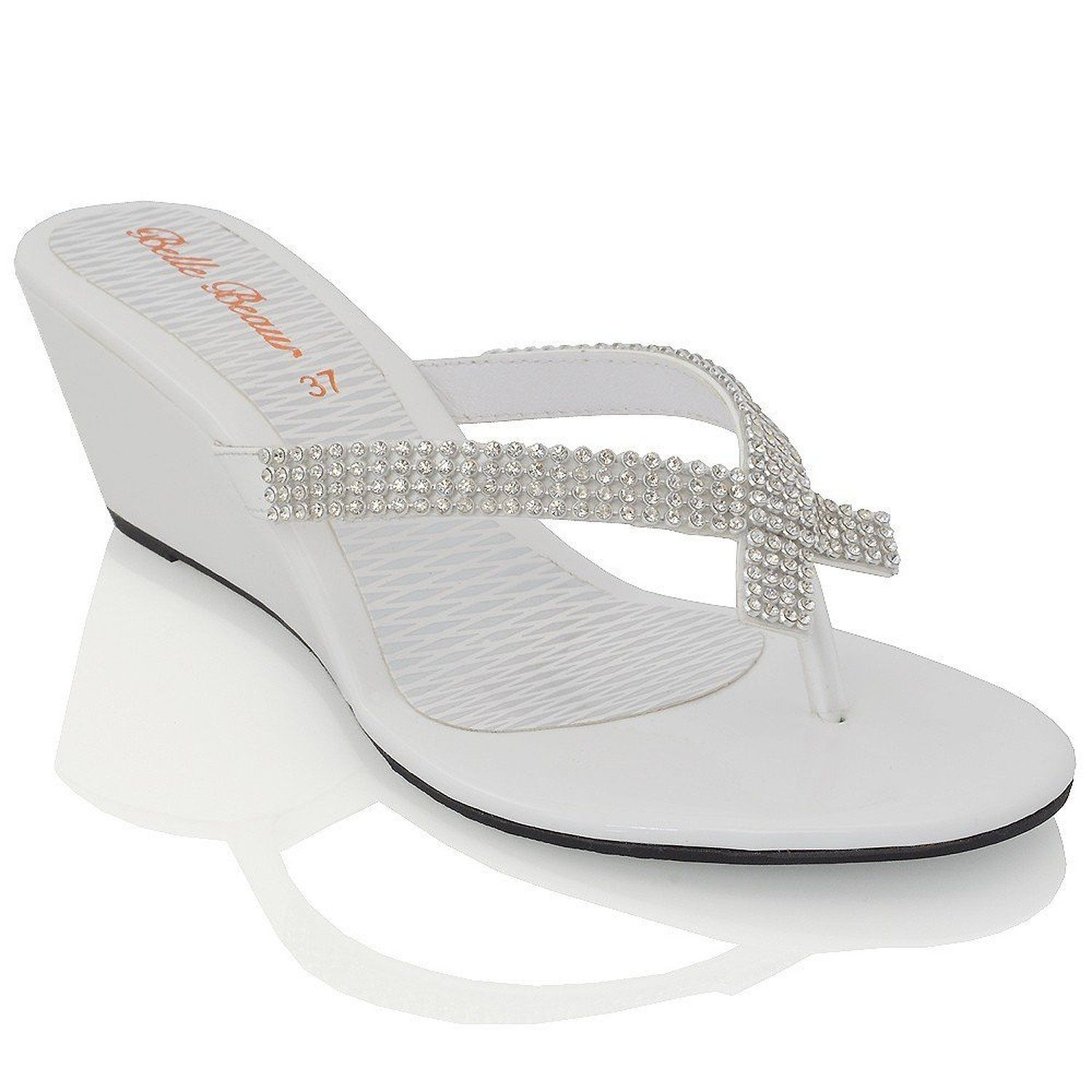86fc7ac7a30c Essex Glam Womens Slip On Toe Post Sparkly Diamante Synthetic low heel  Wedge Sandals -- Want additional info? Click on the image.