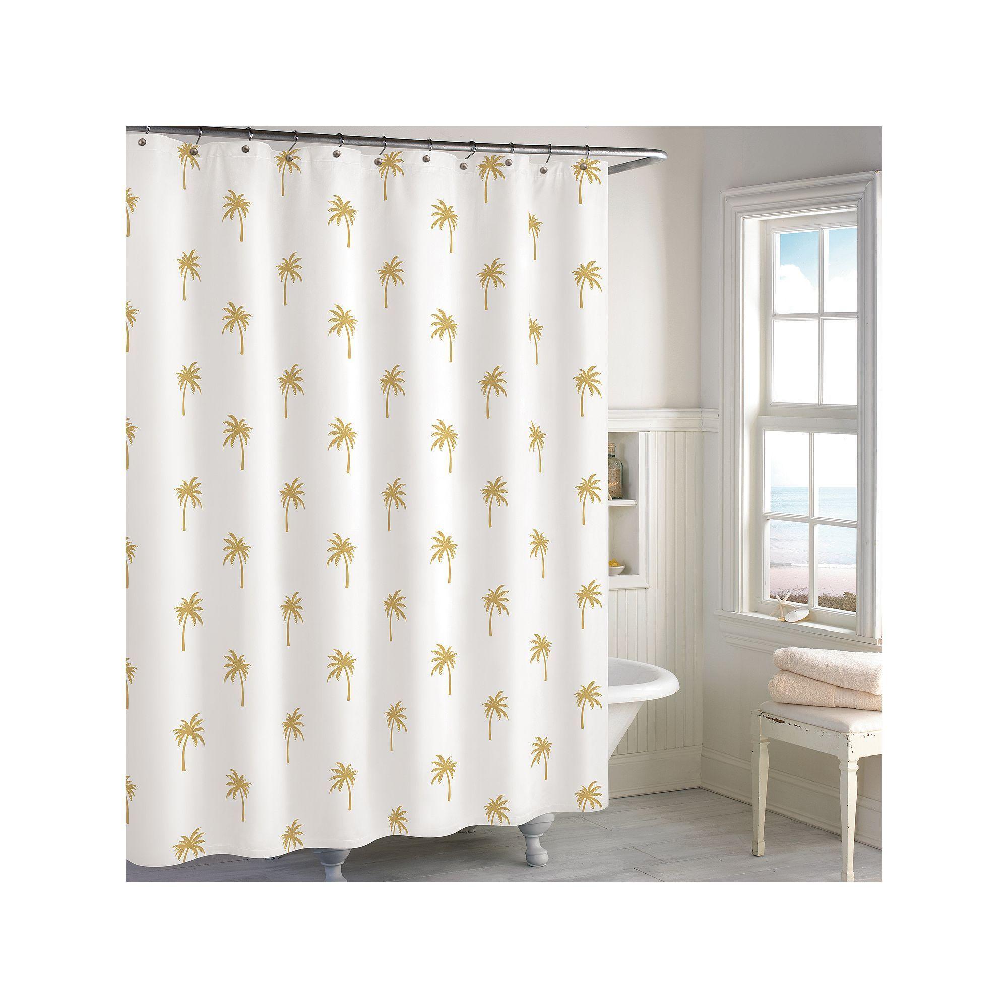 Palm shower curtain - Destinations Golden Palm Tree Shower Curtain Yellow