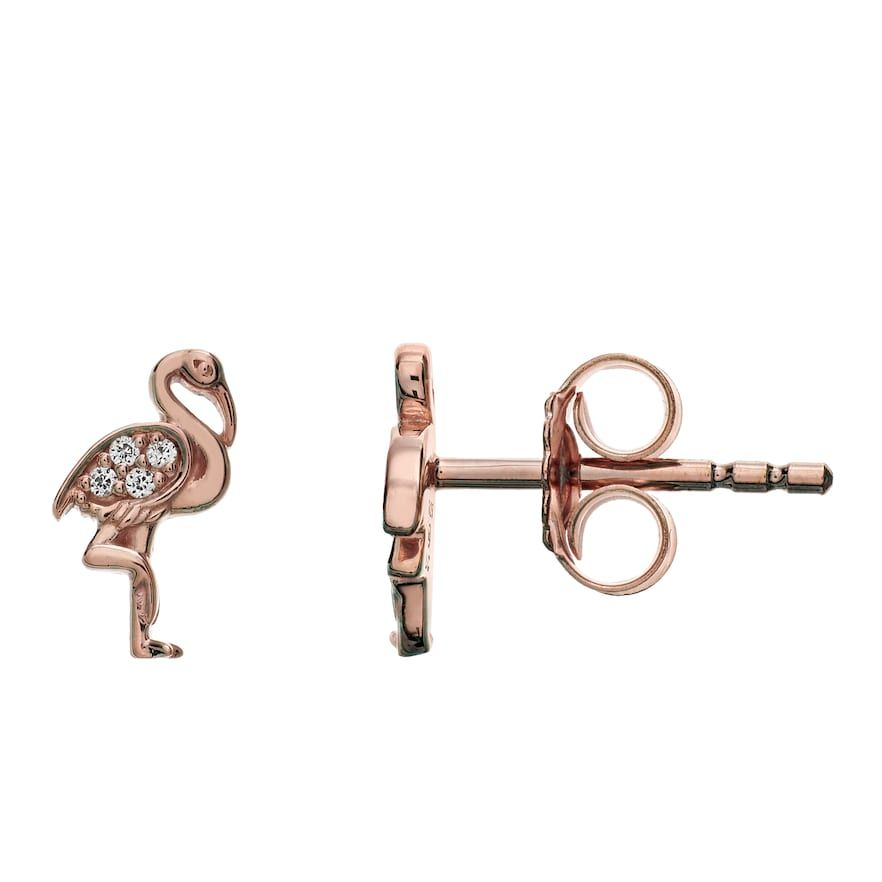 LC Lauren Conrad 10k Rose Gold Over Silver Lab-Created White Sapphire Flamingo Stud Earrings