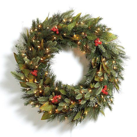Outdoor Lighted Wreath Grandin Road Prelit 30'' Woodland Wreath  Christmas Decorations
