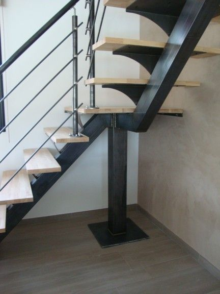 escalier moderne pour interieur de la maison escalier acier pinterest escaliers modernes. Black Bedroom Furniture Sets. Home Design Ideas