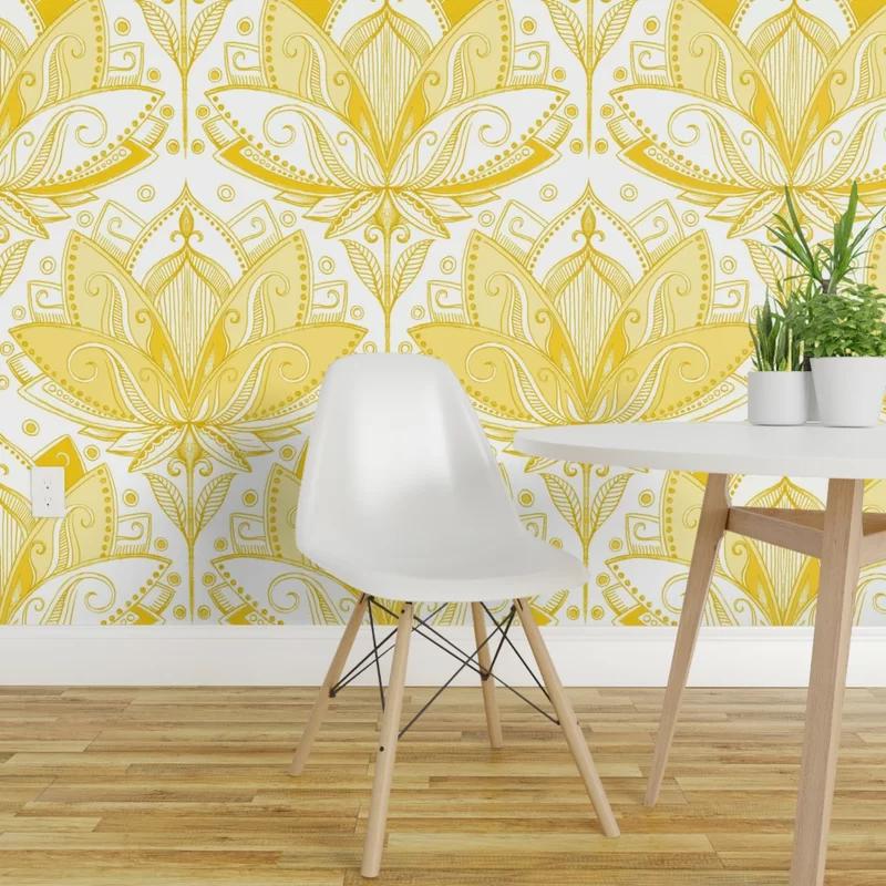 """Damm Art Nouveau Lotus 27' L x 24"""" W Wallpaper Panel"""