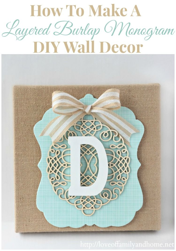 How to make a layered burlap monogram diy wall decor beach house
