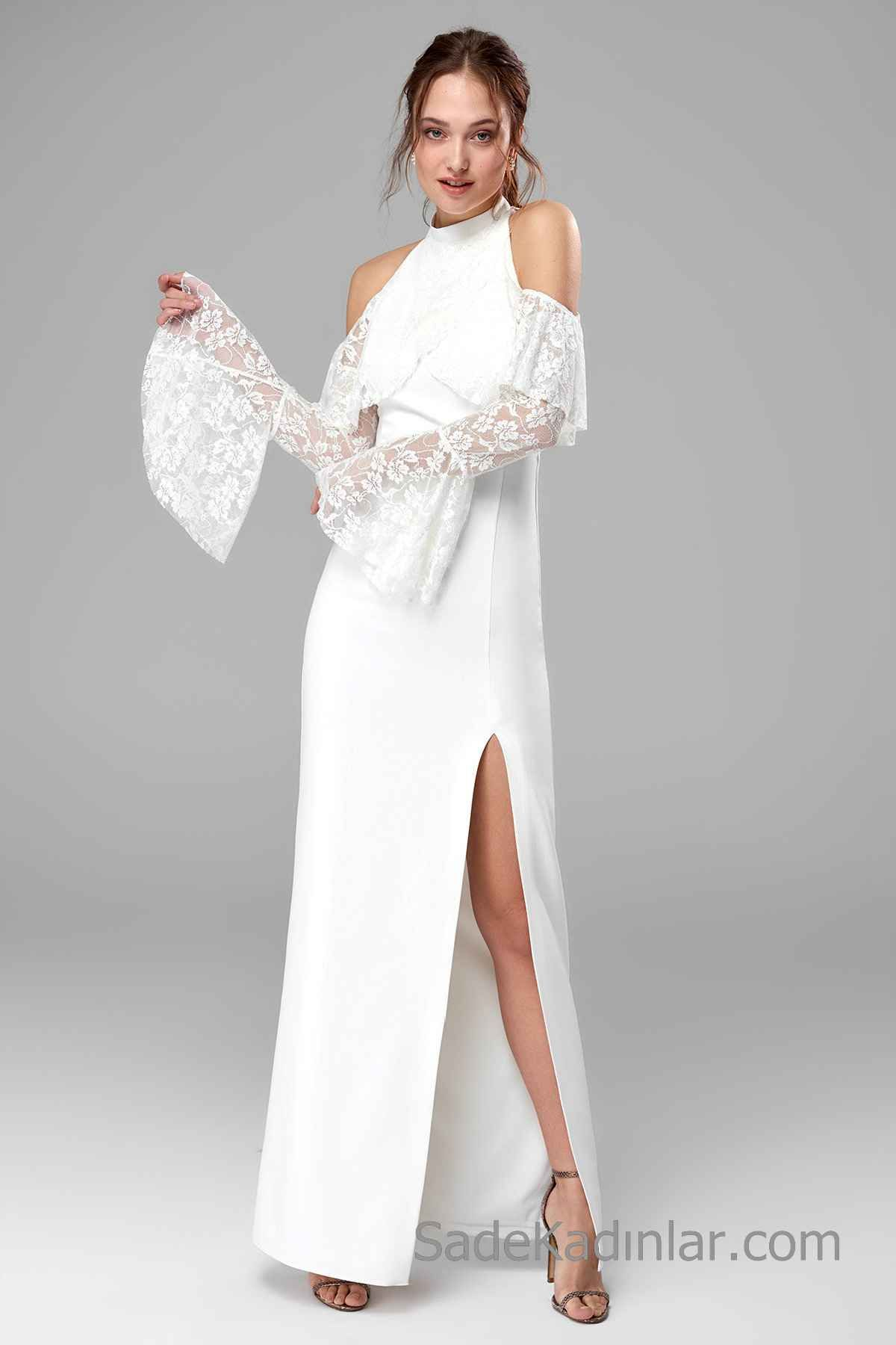 58d8c688cfa65 2019 Uzun Abiye Modelleri Beyaz Uzun Halter Yaka Önden Yırtmaçlı Dantel  Detaylı
