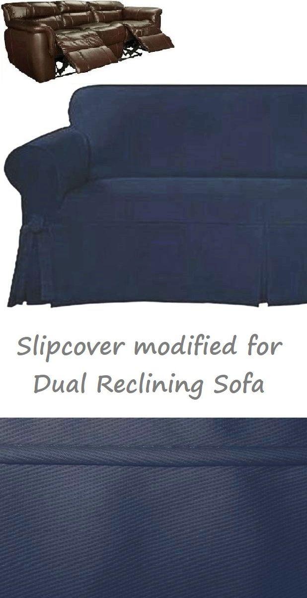 Dual Reclining SOFA Slipcover Farmhouse Twill Navy Blue Sure ...