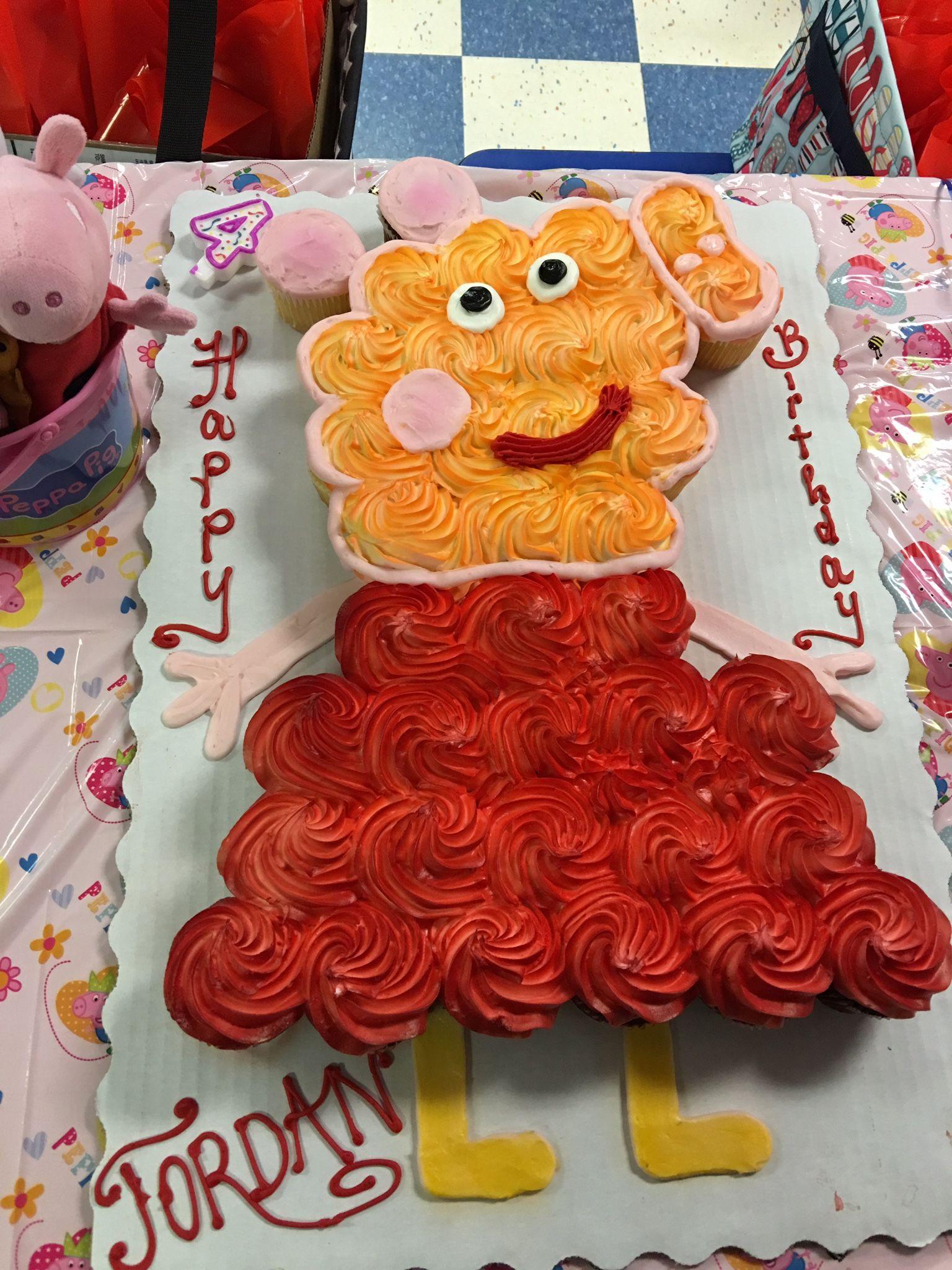 Peppa pig cupcake cake for 4th birthday at roller skating