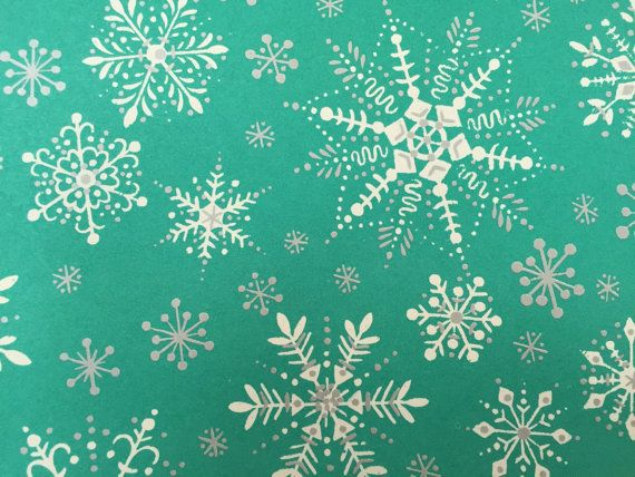 Vintage Christmas Wrapping Paper Silver By Thegooseandthehound