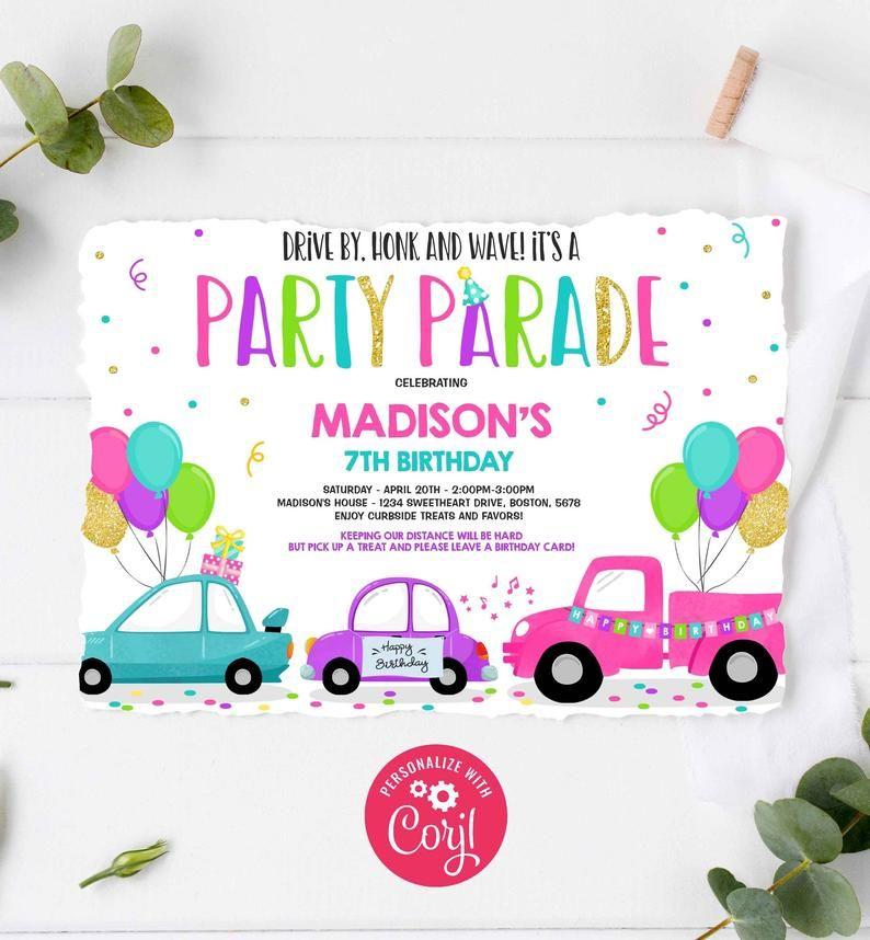 Editable Drive By Birthday Parade Invitation Drive Through
