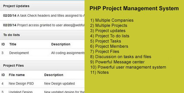 PHP Project Management System  PHP has features such as High