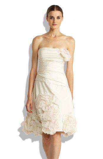 BCBGMAXAZRIA Strapless applique dress with soft flowers. #wedding