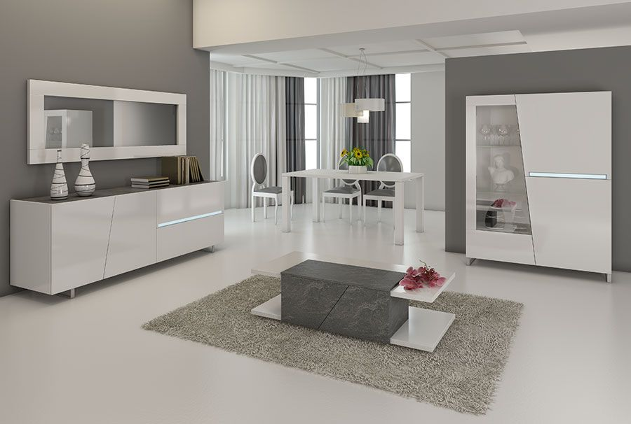 Salle à manger complète blanc laqué et décor ardoise JOSHUA Salon