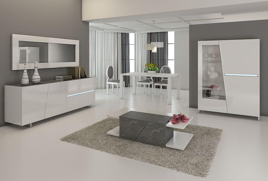 Salle A Manger Complete Blanc Laque Decor Ardoise Design Joshua