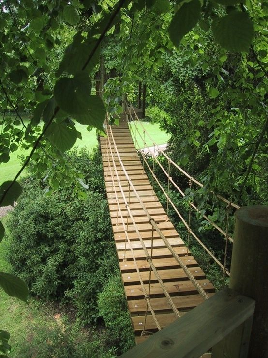 rope bridge for my sons diy playground more | treehouses | pinterest