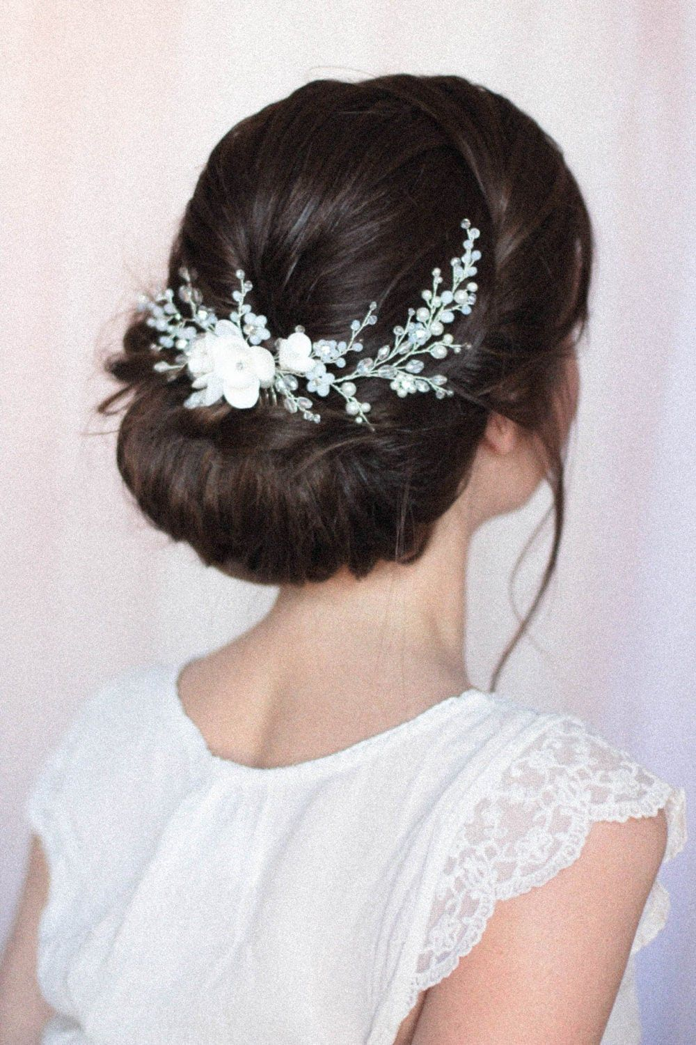 Wedding Flower Headpiece Back Hair Piece With Flowers Moonstones Opals And Crystals Flower In 2020 Flower Headpiece Wedding Wedding Headpiece Wedding Hair Accessories