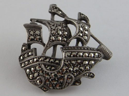 Vintage Silver Marcasite Galleon Ship Brooch Lega NO 232...Love the romance of this piece!