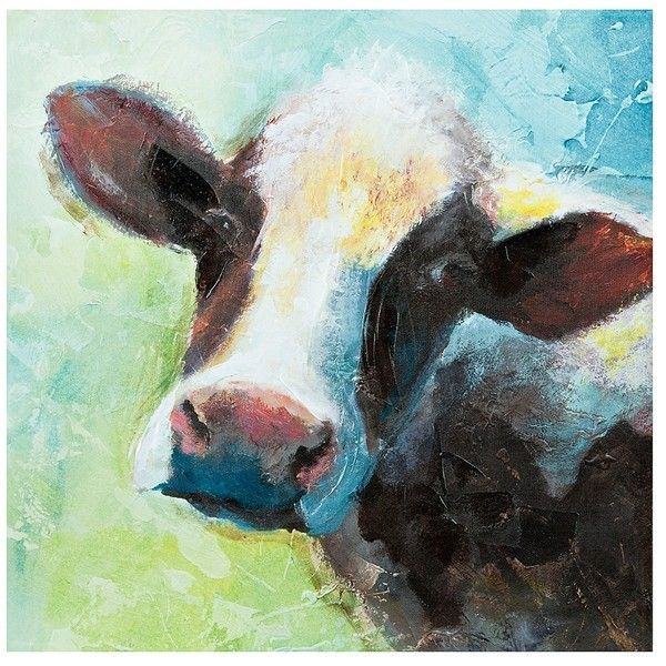 Blue Green Cow Canvas Art Print (1.410 RUB) ❤ Liked On Polyvore Featuring  Home