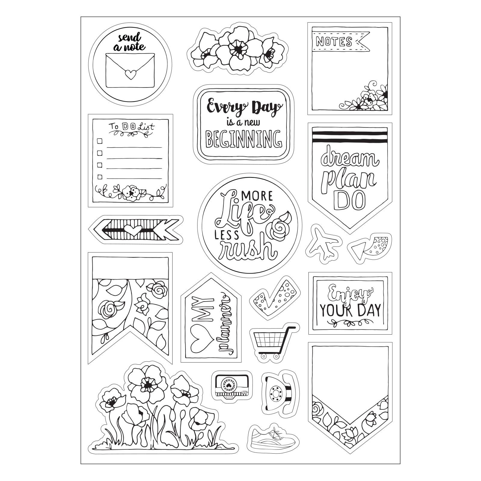 Sizzix coloring stickers color your planner planners stamps and