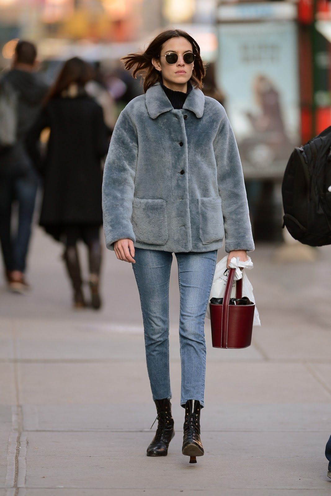 Alexa Chung Wraps Up in Blue Fur in Soho, NYC