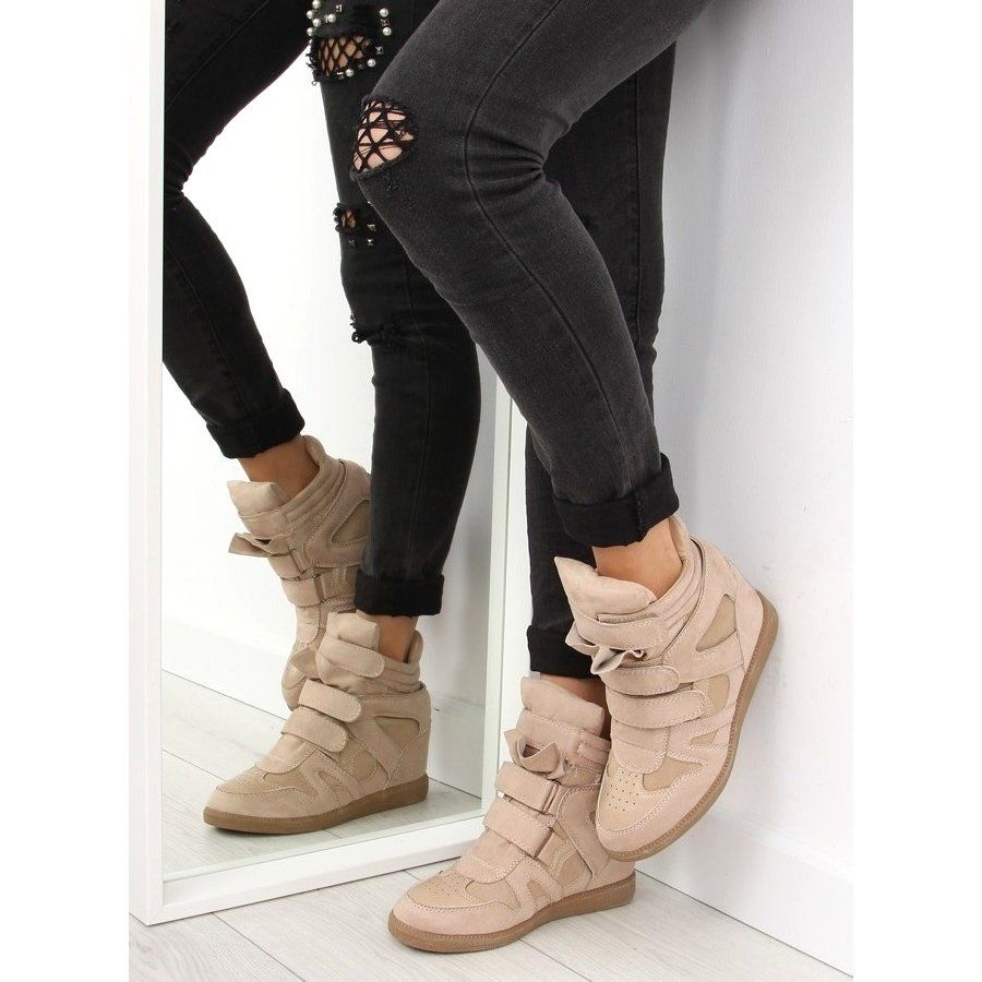 Sneakersy Damskie Bezowe Bz8386 Kb Khaki Bezowy Wedge Sneaker Combat Boots Boots